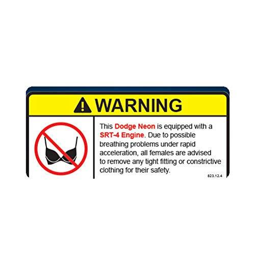 (Morgan Graphics Neon SRT-4 Warning No Bra Self Adhesive Sticker Decal Vinyl Decal Sticker Car Waterproof Car Decal Bumper Sticker 5