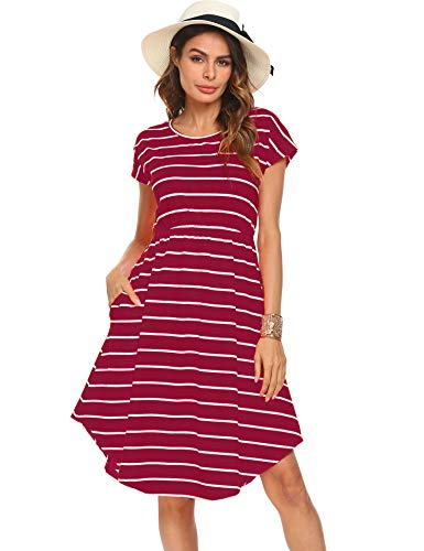 Halife Women's Basic Every Day Crew Neck Stripe Short Sleeve Dress Burgundy,XL
