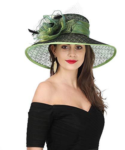 SAFERIN Women's Organza Church Kentucky Derby Fascinator Bridal Tea Party Wedding Hat (SL-Green Black) ()