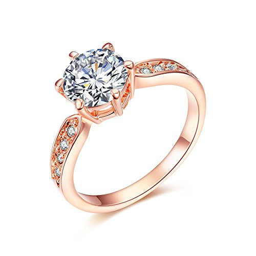 Serend 18k Rose Gold Plated 1.5ct Heart and Arrows Cut Cubic Zirconia Solitaire Engagement Ring, Size 6