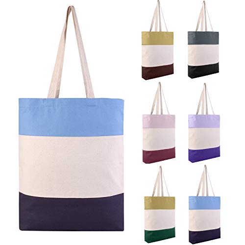 Pack of 6 - Reusable Fancy Durable Tri-Color Canvas Blank Shopping Tote Bags - 12oz. Fabric Sturdy Canvas Plain Tote Bags in Bulk - 15