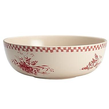 BonJour Dinnerware Chanticleer Country Stoneware Round Serving Bowl, 9 , Red