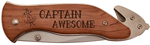 Sailing Boating Gift Captain Awesome Nautical Laser Engraved Stainless Steel Folding Survival Knife (Knife Lockback Engraved Steel Stainless)