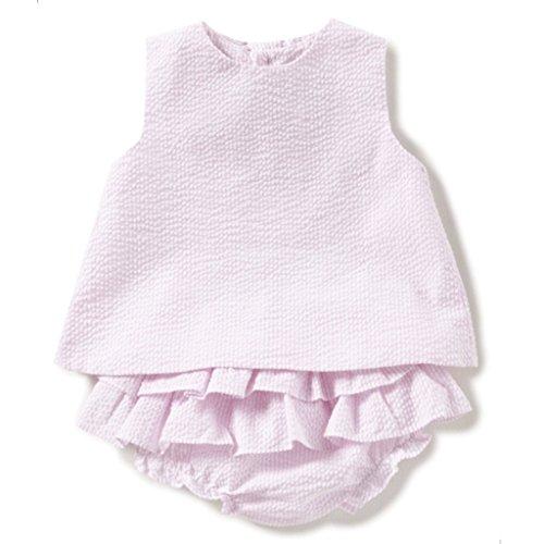 Baby Girls Pink Seersucker Popover Top & Ruffle Bloomers (9 Months) Le Top Bloomers