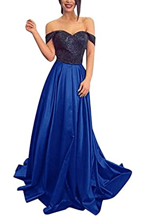 Sequins Off-the-Shoulder Prom Dresses Long 2018 Sweetheart Formal Evening Gown