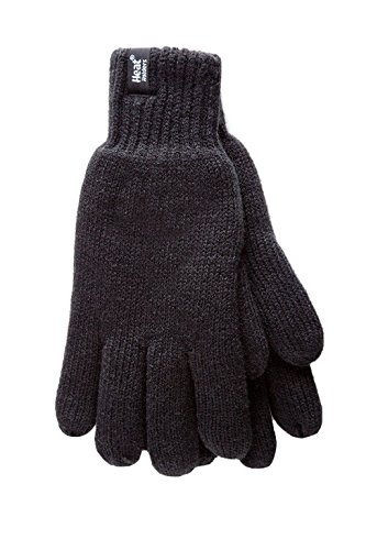 Heat Holders - Men's Thermal Heat Weaver Knitted 2.3 Tog Winter Gloves (S/M, Black) (Best Gloves For Warmth Uk)