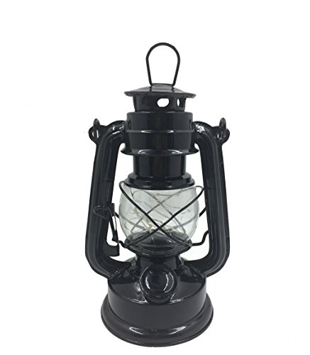 Luwint Vintage LED Hurricane Lantern - Traditional Look Styles Lanterns Lamp for Home Decor, Camping, Outages - 2 AAA Batteries Operated, Black (Small Lantern)