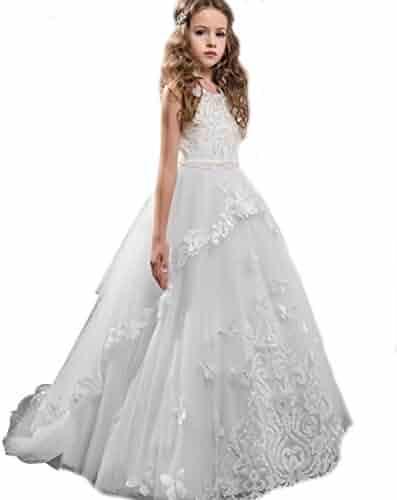 b54f7c7da3 KSDN Girls High Waist Princess Flower Ball Gown Lace First Communion Dress