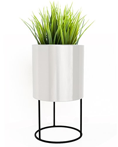 Knox Round Modern Planter w/ Stand - 21.5'' H x 12'' W x 12'' D - White finish by NMN Designs