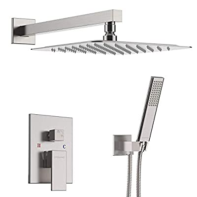 "EMBATHER Shower System- Brushed Nickel Shower Faucet Set for Bathroom- State-of-the-art Air Injection Technology- 12"" Square Rain Shower Head- Easy Installation- Eco-Friendly"