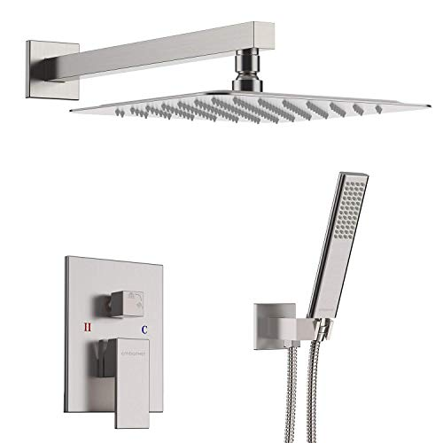 EMBATHER Shower System- Brushed Nickel Shower Faucet Set for Bathroom- State-of-the-art Air Injection Technology- 12