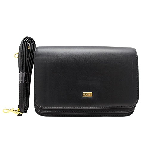 Leather Really Bag (Buxton Double Flap Mini Cross Body Bag, Black, One Size)