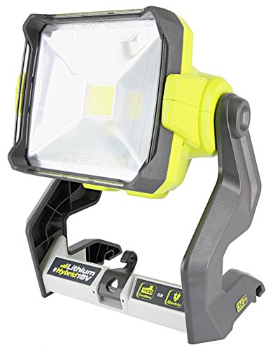 Ryobi P721 One+ 1,800 Lumen 18V Hybrid AC and Lithium Ion Powered Flat Standing LED Work Light with Onboard Mounting Options (Battery and Extension Cord Not Included, Light Only) by Ryobi