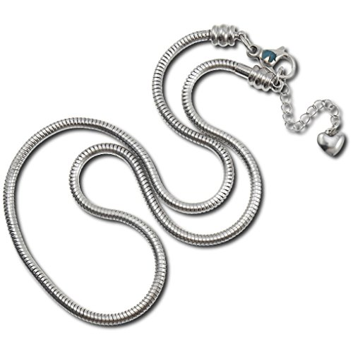 Timeline Treasures Charm Necklace For Women, Stainless Steel Snake Chain,...