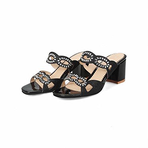 Mee Shoes Women's Sexy Mid Block Heel Slip on Sandals Black dFM2kOZ