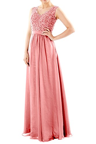 MACloth Women V Neck Lace Chiffon Long Prom Dresses Formal Party ...