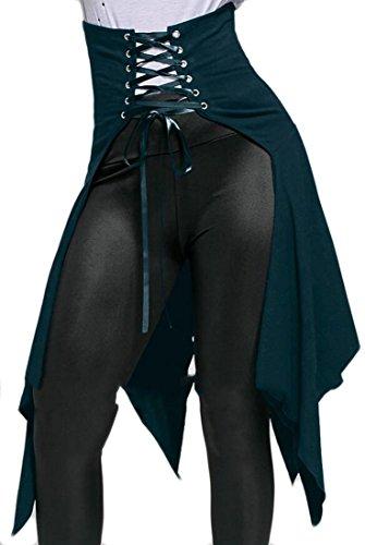 XiaoTianXin-women clothes XTX Women Vintage Steampunk Band Waist Gothic Party Midi Skirts Blue XL -