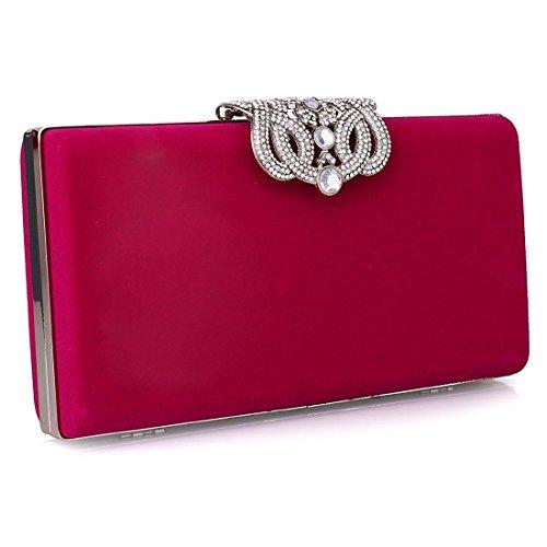 Bolso de noche, diseñador de moda para mujer Cristal Diamante bolso de embrague Bolso nupcial del monedero del banquete de boda de las señoras rosado
