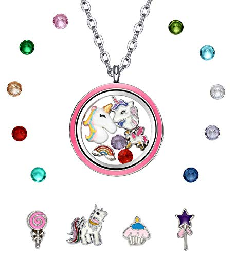 Pink Unicorn Floating Charm Locket Pendant Necklace, Unicorn Jewelry for Girls (Cupcake Charm Necklace)