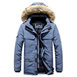 iLOOSKR Winter Warm Hooded Outwear Men's Plus Size Casual Pocket Cotton-Padded Clothes Top Coat Blue