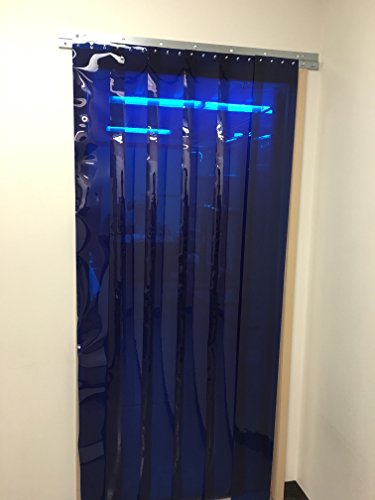 Strip-Curtains.com: Strip Door Curtain - 36 in. (3 ft) Width X 72 in. (6 ft) Height - Blue Weld 8 in. Strips with 50% Overlap - Common Door Kit (Hardware Included) by Strip-Curtains.com