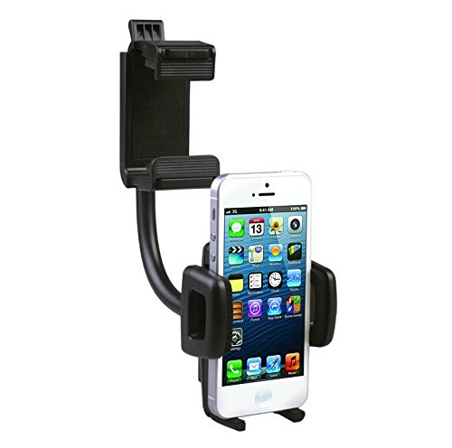 SuperMay Car Mount Holder Cradle, Adjustable Car Rear View Mirror Cradle for Car Mount Holder Cradle for All iPhone and Android Devices by SUPER MAY