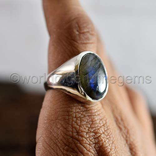 Februaray Birthstone jewlery, Natural Labradorite Ring Solid 925 sterling silver ring, Cushion cabachon Blue flash labradorite ring, Metaphysical Gemstone ring, Unisex Labradorite Christmas band