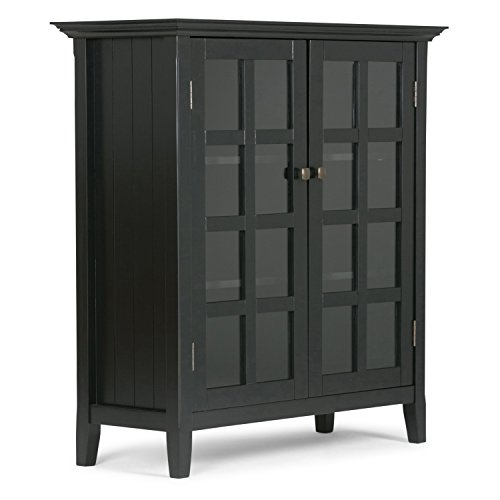 Tempered Glass File Cabinet (Simpli Home Acadian Solid Wood Medium Storage Cabinet, Black)