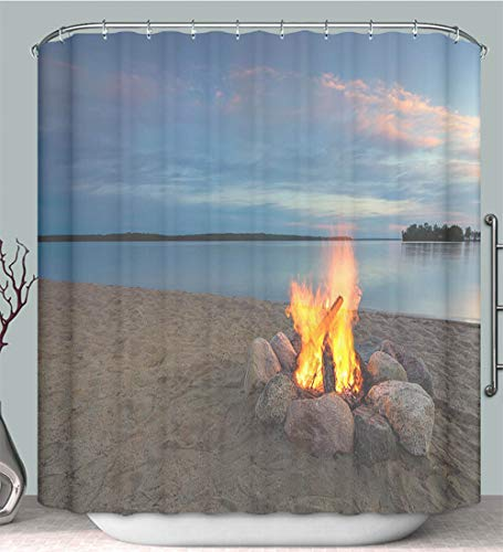 Trendy household Shower Curtain liner anti-mildew antibacterial Camp fire beside lake at sunset Minnesota USA multi-color,fabric shower curtain decoration Bathtub bathroom accessories with ()