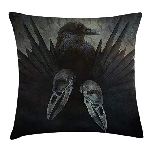 XGUPKL Gothic Throw Pillow Cushion Cover, Crow Spirit Wings Haunting Magical Mysticism Dark Shadowy Occult Art Print, Decorative Square Accent Pillow Case, 18 X 18 inches, Jade Green Black ()