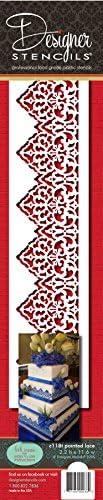 Designer Stencils C118t Pointed Lace Stencil, Beige/semi-transparent