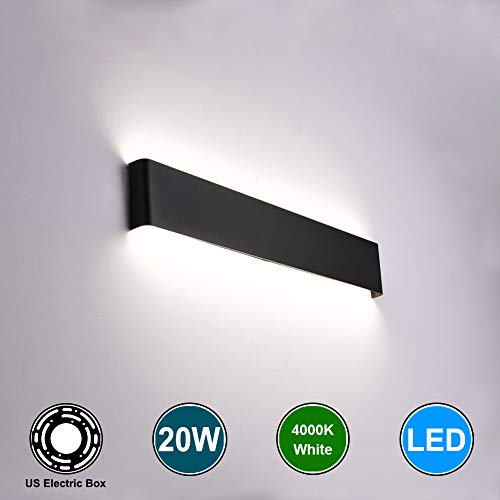 Aipsun 20W/24in Rectangular Matte LED Wall Mount Sconces Modern Up and Down Wall Lamp for Indoor Vanity Bar Light Pathway Staircase Bedroom Corridor Living Room Bathroom Lighting Fixture (Black,4000K)