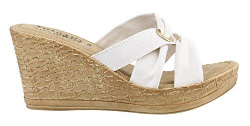 Easy Street Solaro Women Open Toe Canvas Blue Wedge Heel, White, Size 7.5 (Canvas Open Toe Wedge Heel)