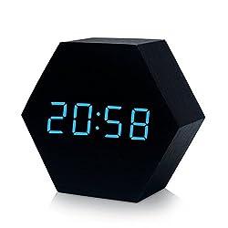 SINDBIN Hexagon Wooden Digital Alarm Clock,Battery or USB Powered Alarm Clock,Displays Time and Temperature, Voice Control