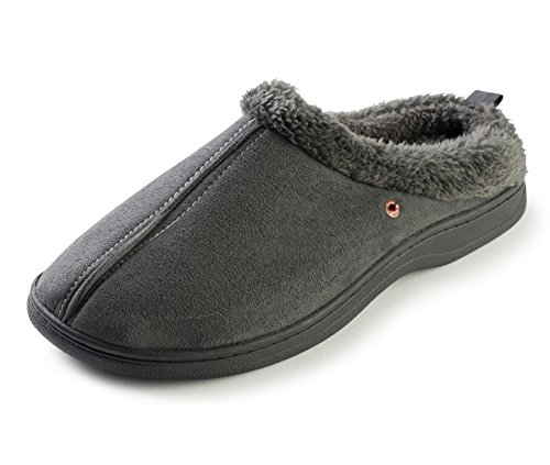 Faux Suede Fleece - J. Fiallo Mens Stitched Faux Suede, Fleece Lined Clog Slippers