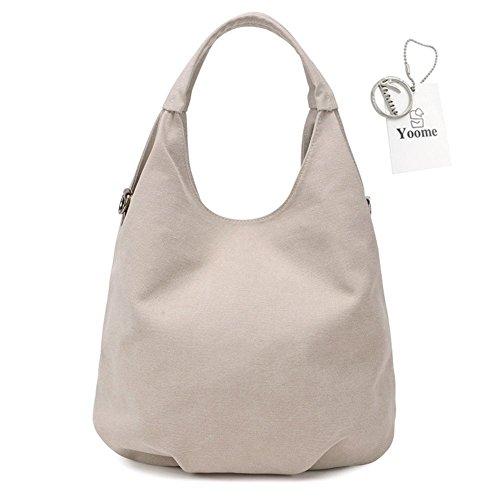 Gris Yoohobo0016 Mujer Size para One crema Bolso Yoome Beige Hombro al Grey fURq7