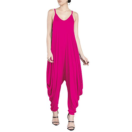 Dreamskull Women's Punk Spaghetti Strap Jumpsuit V Neckline Comfy Loose Harem One Piece Romper (M, Rosy) ()