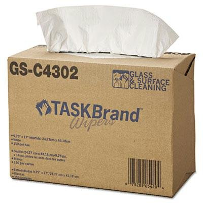 Hospital Specialty Co. - Taskbrand Glass & Surface Wipers 4Ply 9 4/5 X 17 White 150/Box 6 Box/Carton ''Product Category: Breakroom And Janitorial/Hand Wipes & Towelettes''