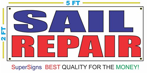 (SAIL REPAIR Banner Sign 2X5 RED & BLUE Sailing Boat Club)