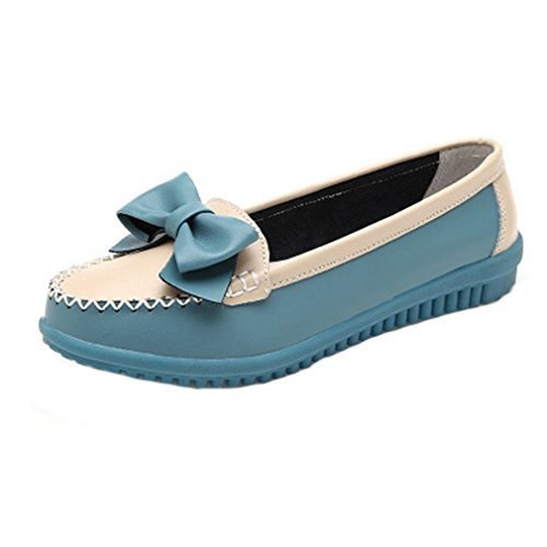 GIY Womens Classic Penny Loafers Flat Moccasin Round Toe Slip-On Bow Casual Dress Loafer Oxford Shoes Blue