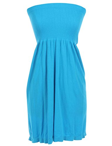 Mb Trend Seamless Solid Strapless Flare Sun Dress, One Size, Turquoise -