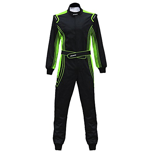jxhracing RB-CR014 One Piece Auto Go Karts Racing Suit-SFI rated-Green ()