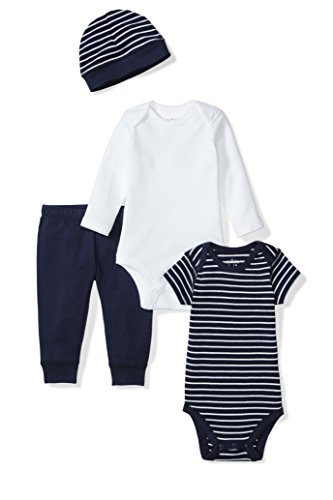 Moon and Back Baby 4 Piece Organic Playtime Gift Set, Navy Sea, 3-6 Months