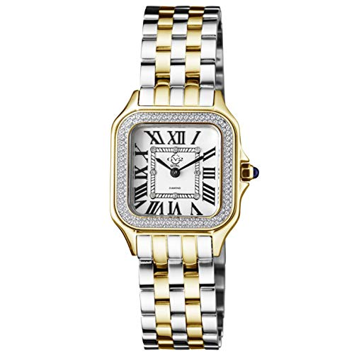 GV2 Women's Milan Swiss Quartz Watch with Gold Tone Stainless Steel Strap, Multicolor, 16 (Model: 12103B)