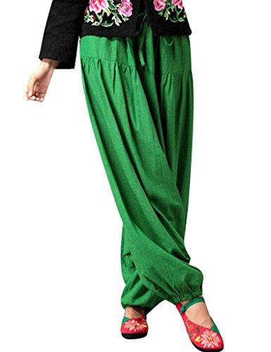 Youlee Mujer Cordón de la cintura Pierna ancha entrepierna caída Pantalones Verde / Fit EU 46-54