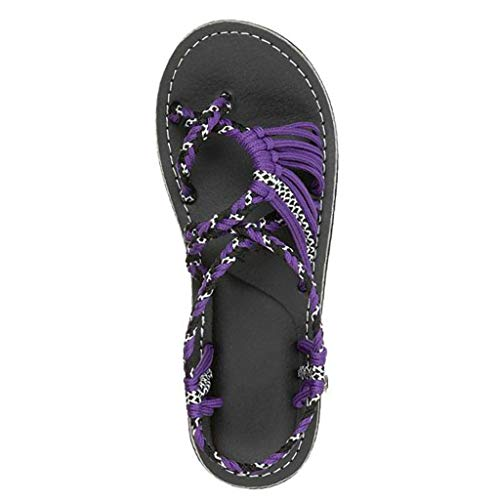 (JJLIKER Women Maternity Comfort Flat Sandals, Braided Strappy Flip Flop Shoes Anti-Slip Beach Slippers Gladiator Purple)