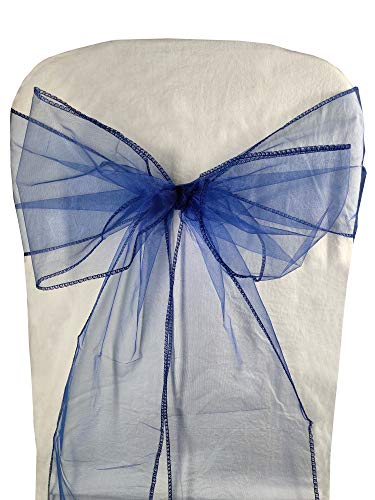 - Ankirol 50pcs Organza Chair Sashes Chair Covers Wedding Party Favors Banquet Decor Sheer Organza Fabric Sash 7 inch x 108 inch / 18cm x 275cm (Navy Blue)