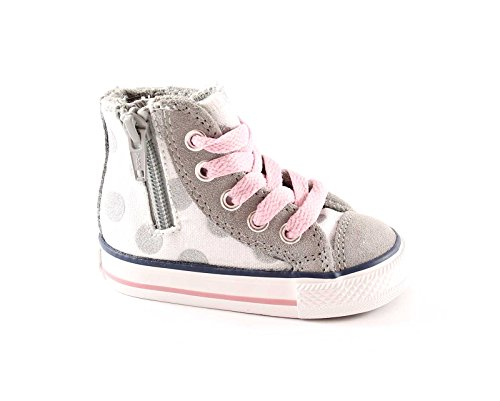 huck Taylor Glitter Polka Dots Side Zip Hi Optic White/Grey Dust (US 3 Toddler) ()