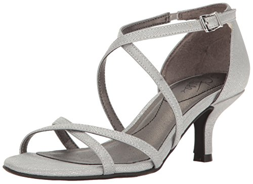 LifeStride Women's Flaunt Dress Sandal, Silver, 9.5 W US by LifeStride