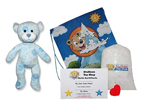 (Make Your Own Stuffed Animal Blue Emossed Petal Tedy Bear Kit - No Sew - With Cute)